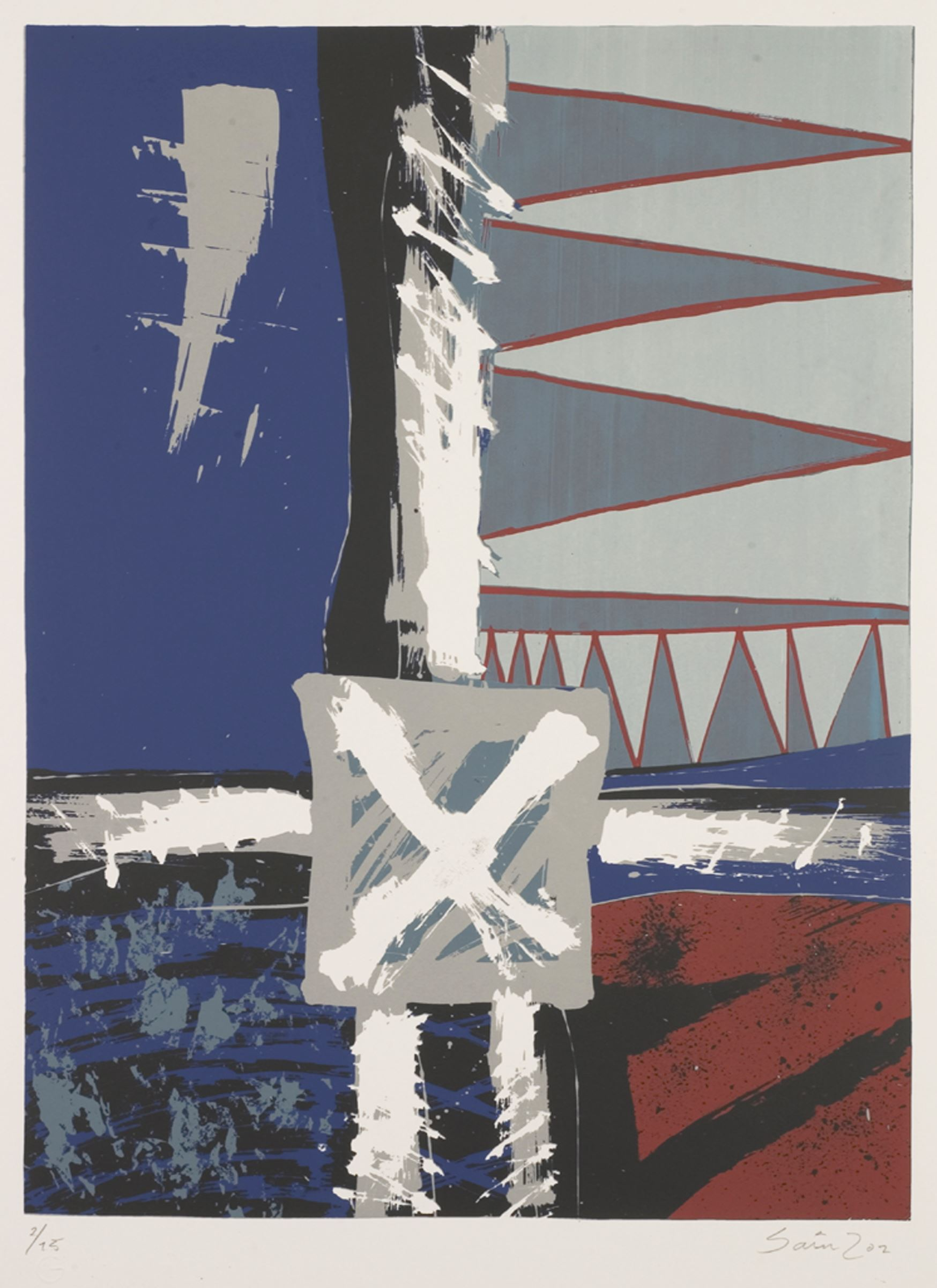 An image of a linocut print with a cross shape in the middle and blue and red blocks of color on the