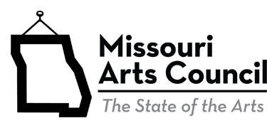 A black and white logo that says Missouri Arts Council with an outline of the state of Missouri in t