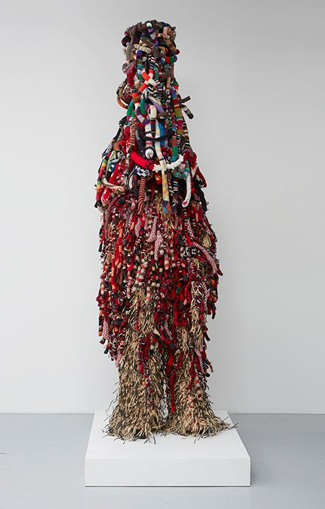 NICK CAVE, Soundsuit, 2009, Mixed media including sisal, knitted fabric, metal armature, plastic, el