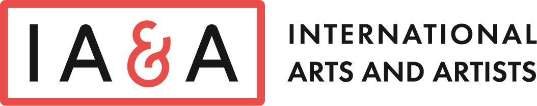 A red and black logo for International Arts and Artists
