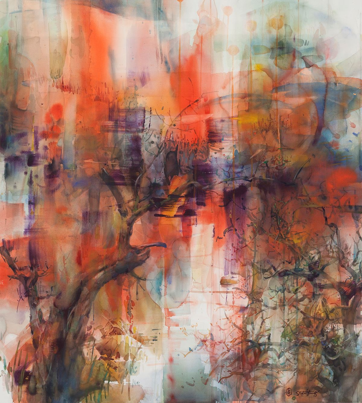 "Stephen Zhang, ""Mindscape,"" an abstract watercolor painting."