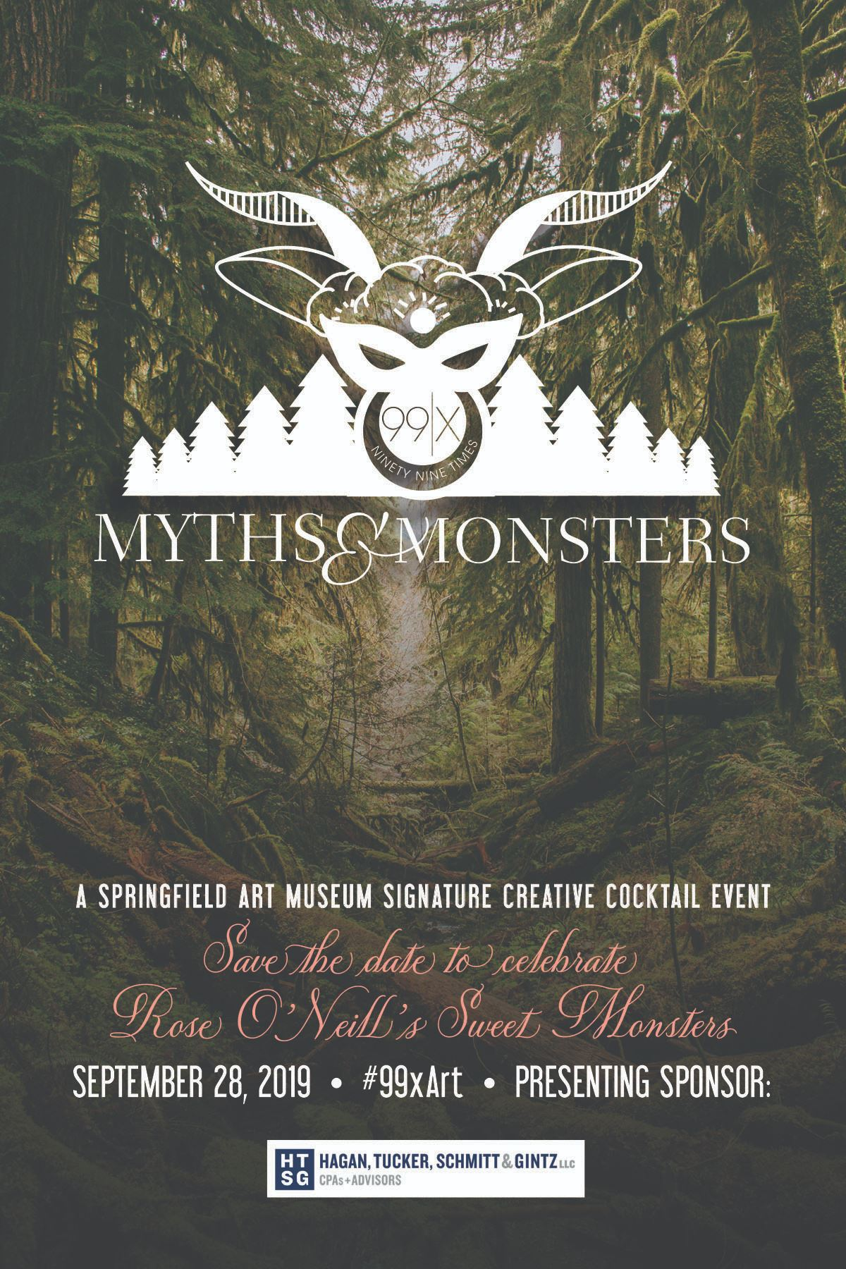 99x Myths and Monsters Save The Date featuring logo against a woodland backdrop
