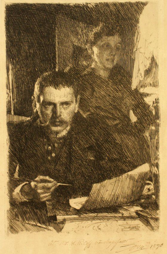 A black and white self portrait of the artist Anders Zorn seated, looking out at the viewer with an