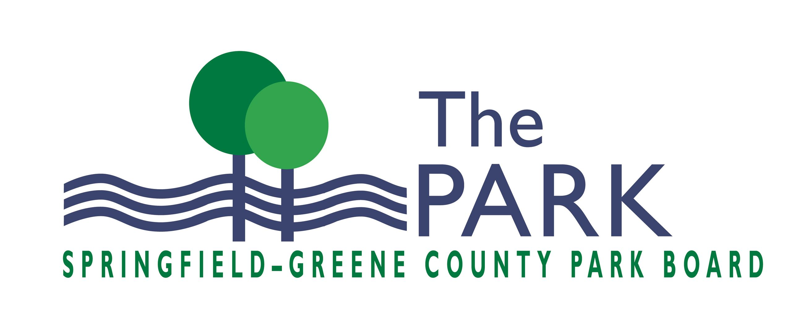 logo for the Springfield Greene-County Park Board with two trees and three blue wavy lines and the w