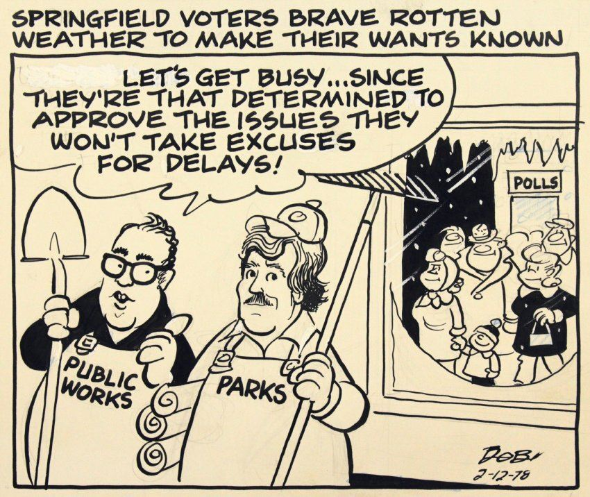"a black and white cartoon with two white gentlemen holding a shovel and rake the text says ""let&#"
