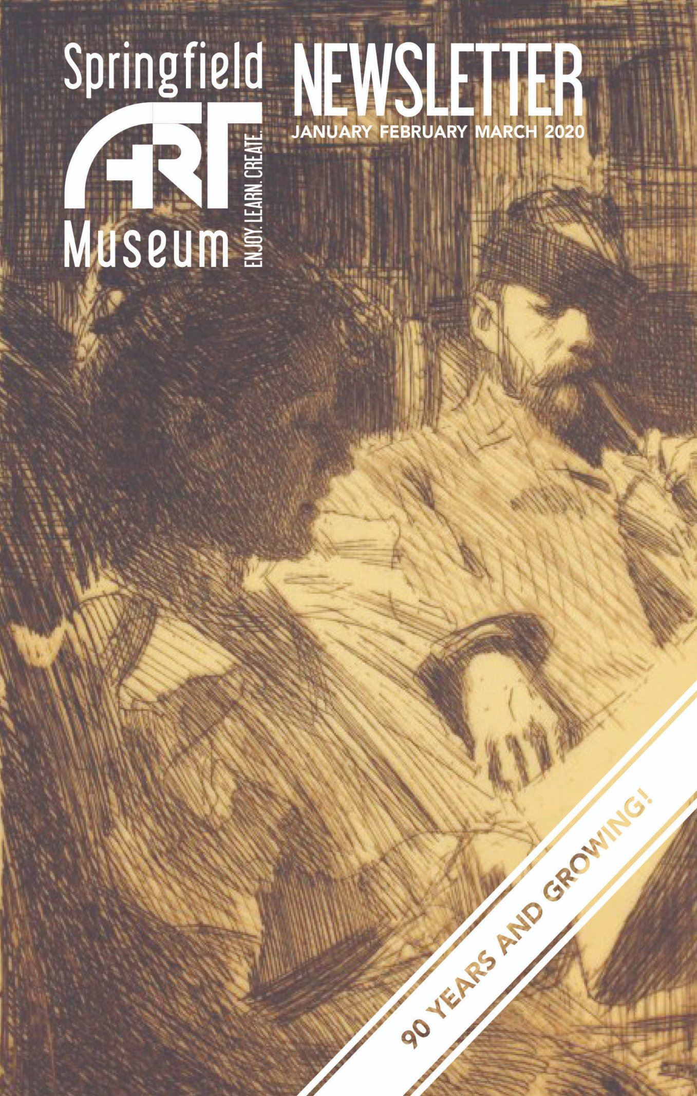 JFM 2020 Newsletter Cover featuring Anders Zorn etching of a couple reading together