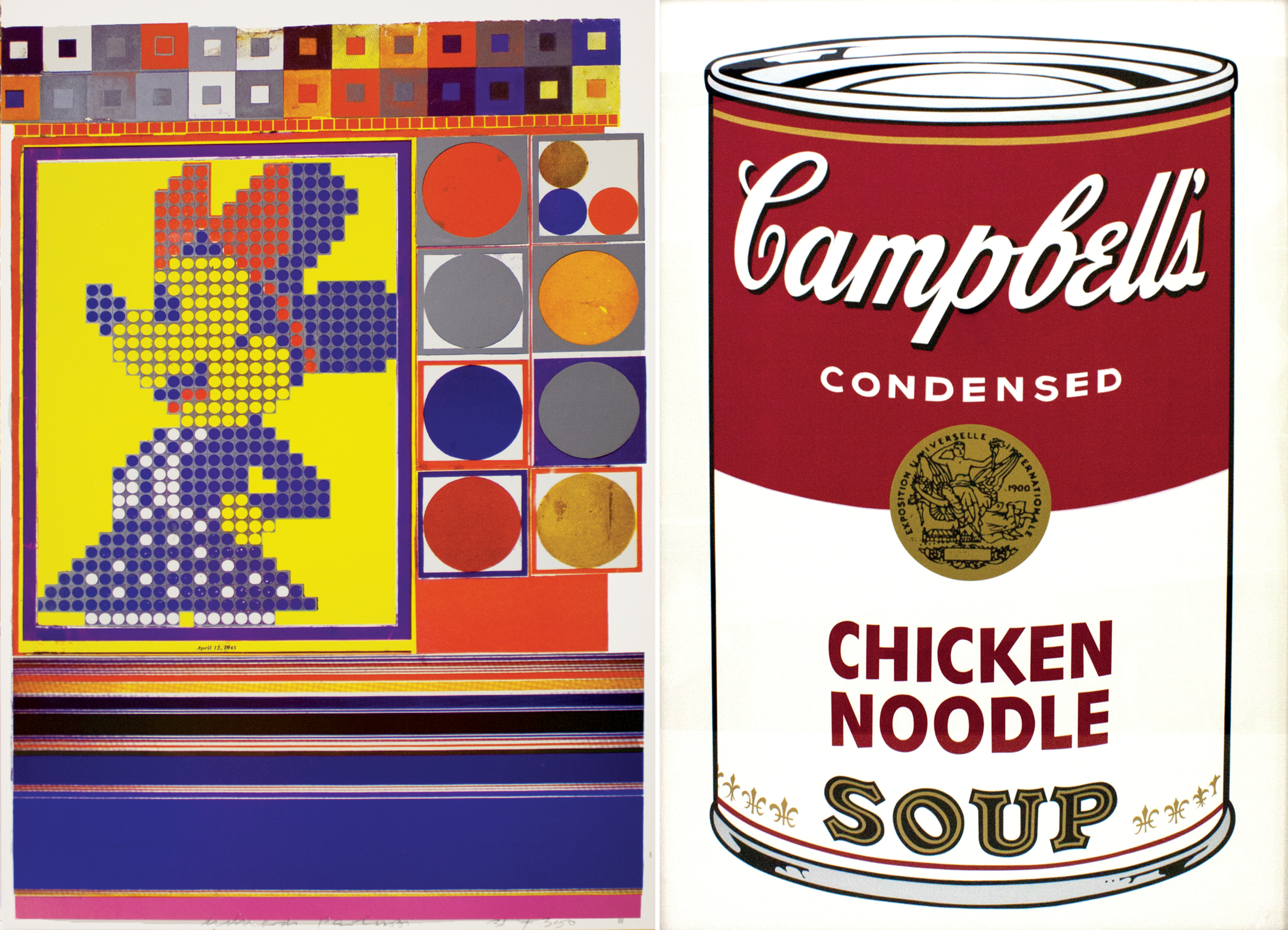 A computer graphic version of Minnie Mouse and Andy Warhol's Campbell Soup Can