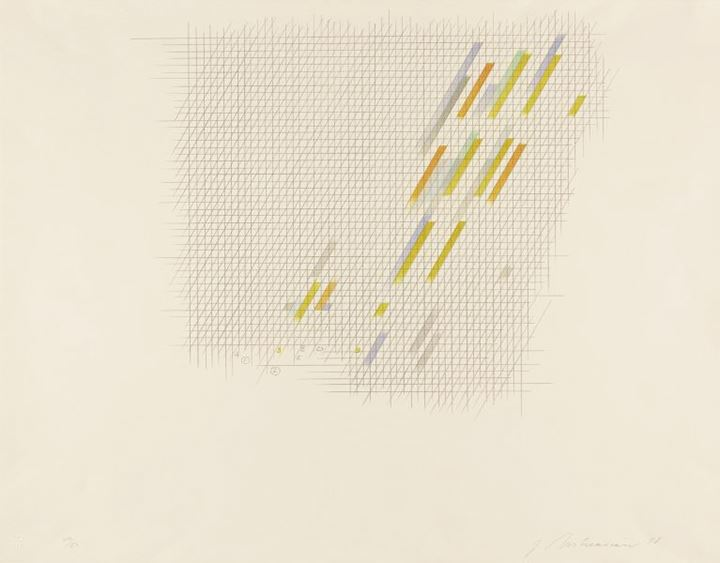 a lithograph of a roughly formed grid with black cross hatching and blue and yellow slash marks movi