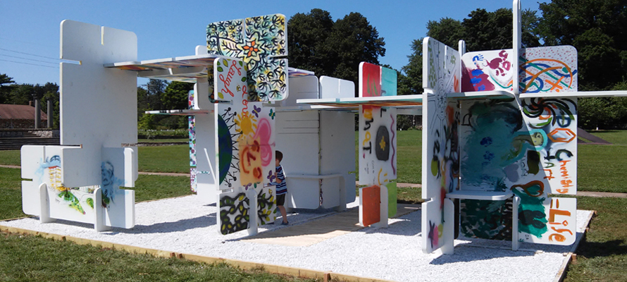 public art structure made of graffiti panels