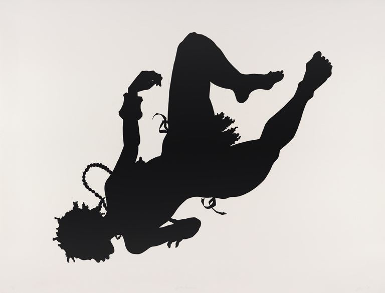 silhouette image of a woman falling