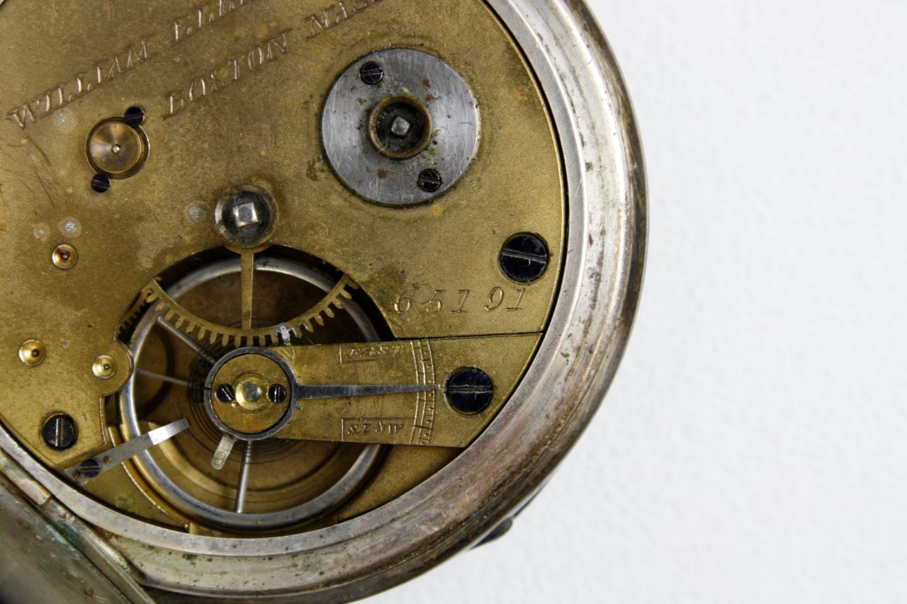 detail image of the interior of a 19th century pocket watch