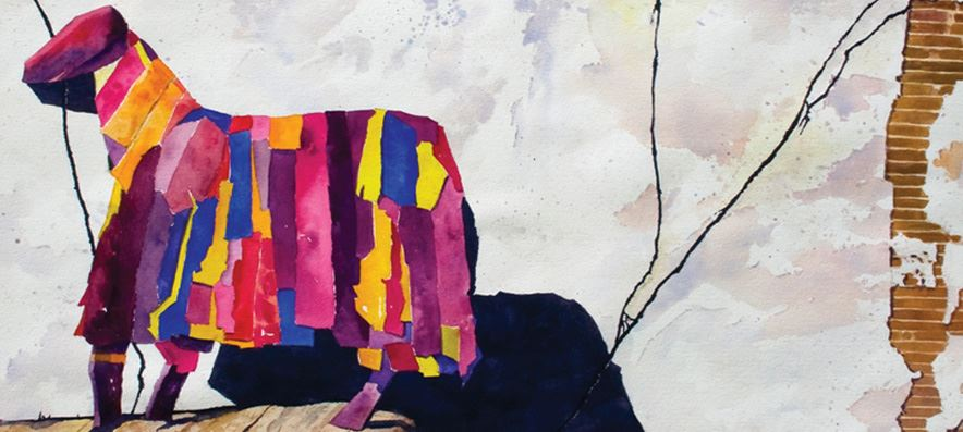 an acylic painting of a brightly colored papier mache horse leaning against a wall