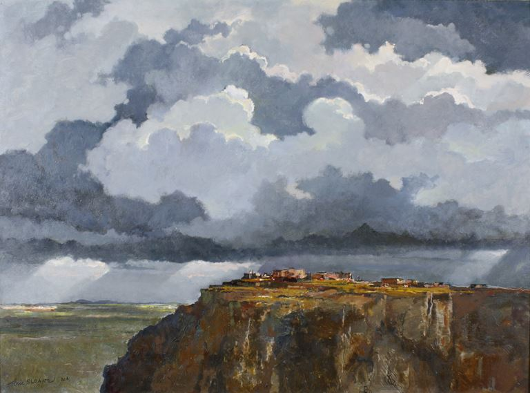 a painting of a western landscape overlooking a cliff with a big cloudy sky