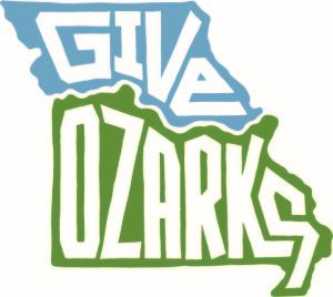 Give Ozarks color logo featuring the state of Missouri in blue and green