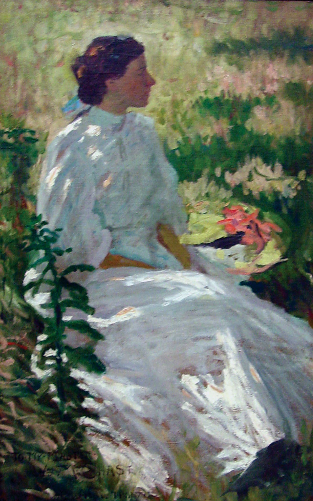 an impressionistic painting of a seated woman in white, turned in profile, painted out of doors
