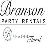 Branson Party Rentals and Rosewood Floral Logo