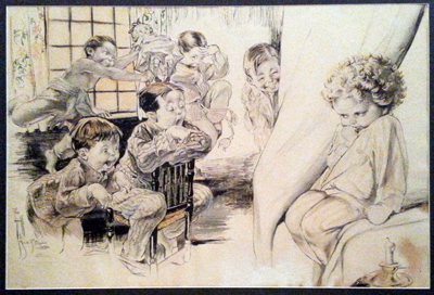 Pen and ink illustration by Rose O'Neill of a young girl being teased by a group of boys