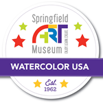 logo for watercolor usa with stamp